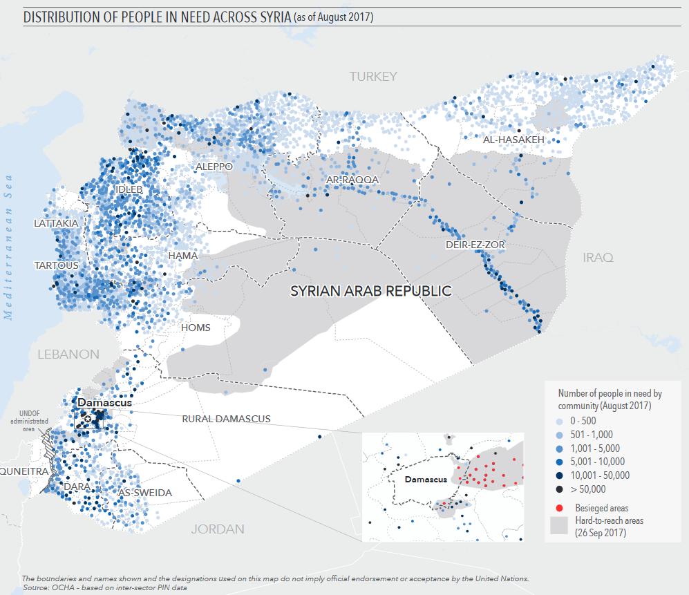 Anzahl und Verteilung der Menschen, die in Syrien in großer Armut leben. Grafik: OCHA / Amt für die Koordinierung humanitärer Angelegenheiten der Vereinten Nationen