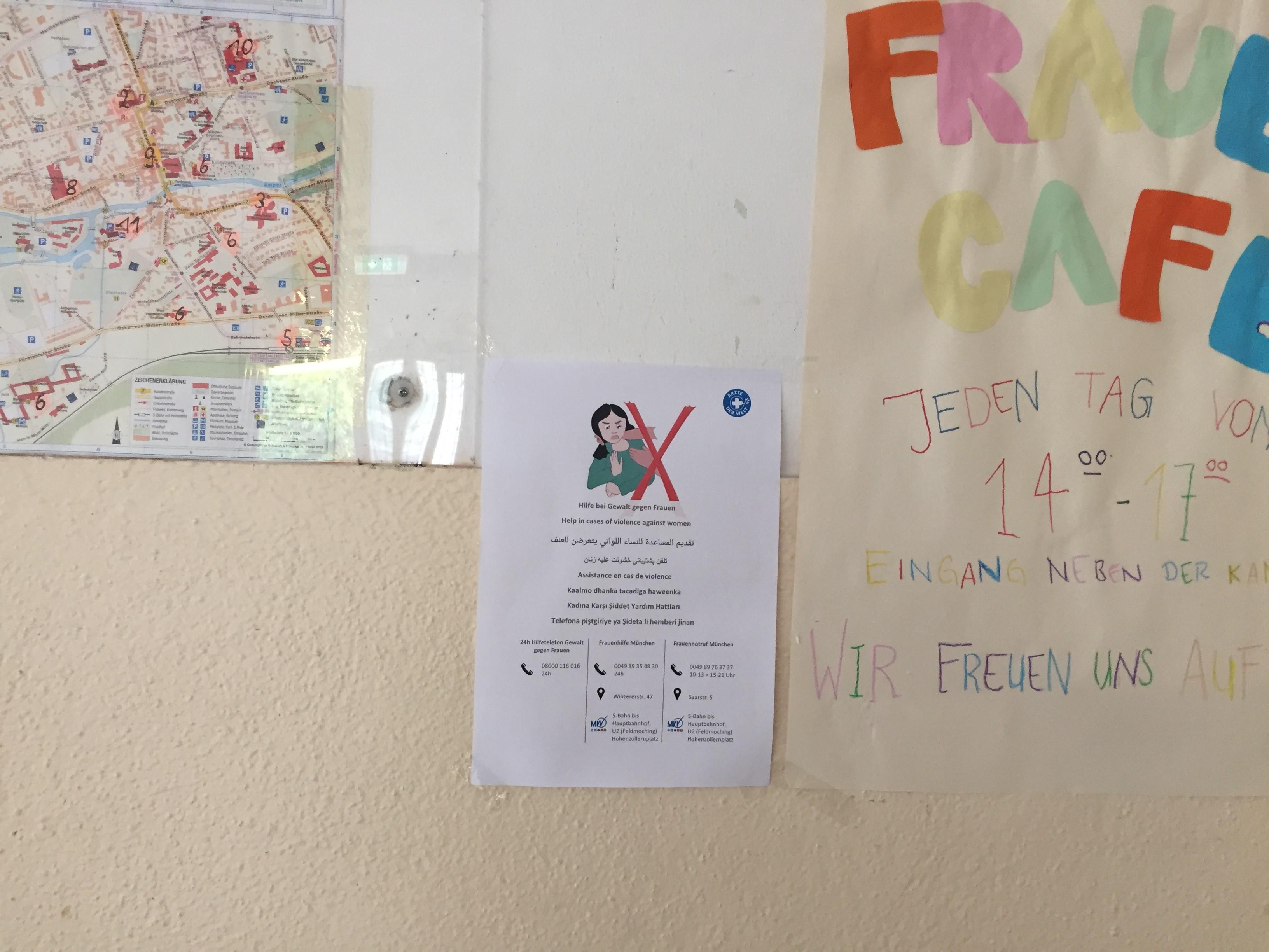 Aushang in einer Flüchtlingsunterkunft
