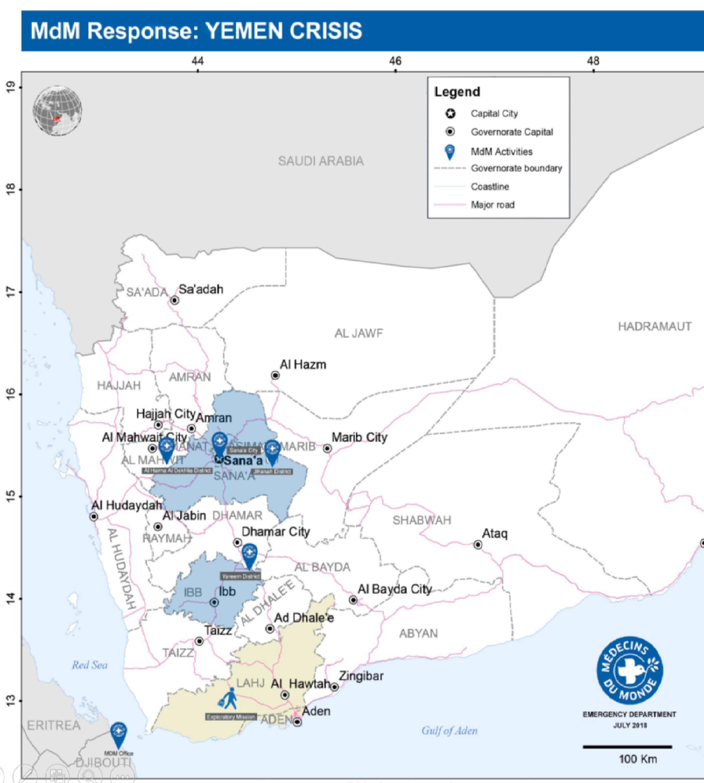 In den Regierungsbezirken Amanat Alasimah, Sana'a und Ibb betreibt Ärzte der Welt 13 Gesundheitsstationen,  davon zwei Krankenhäuser.