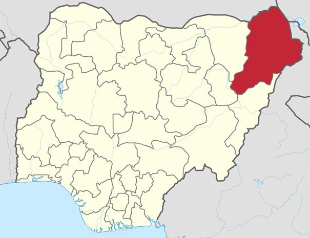 Der Bundesstaat Borno liegt im Nordosten Nigerias. Quelle: Wikimedia