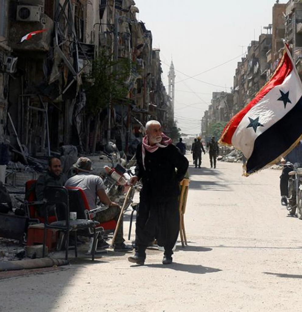 Zerstörte Straße in Syrien. Foto: Reuters