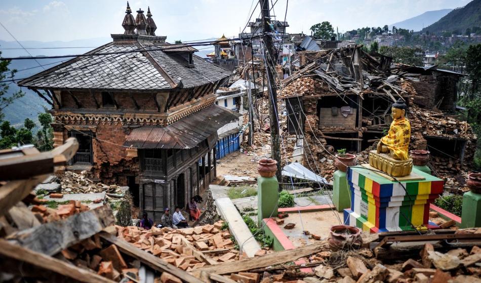 Zerstörung nach dem Erbeben in Nepal 2015. Foto: Quentin Top