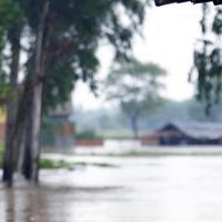 Nepalesin in überfluteter Landschaft