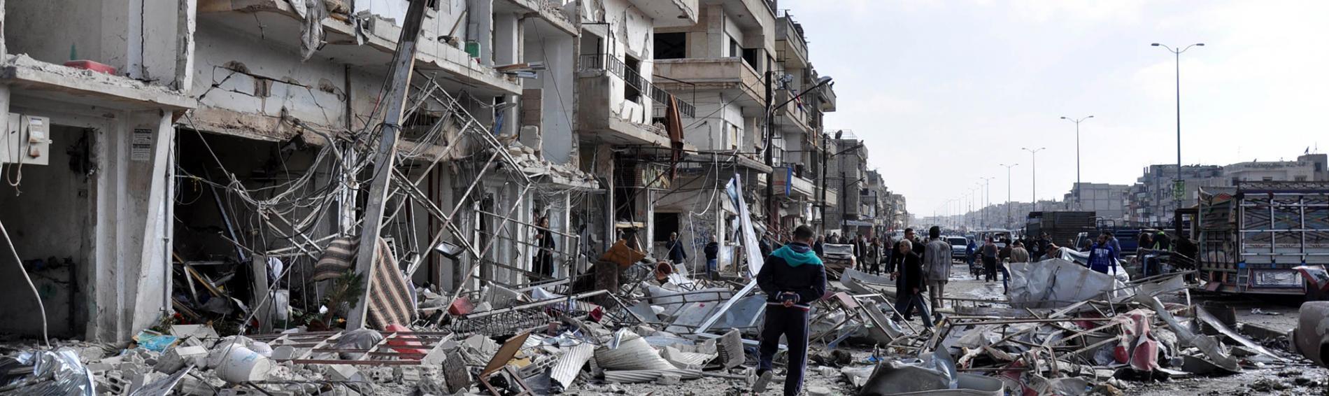 Durch Bomben zerstörte Häuser in Syrien