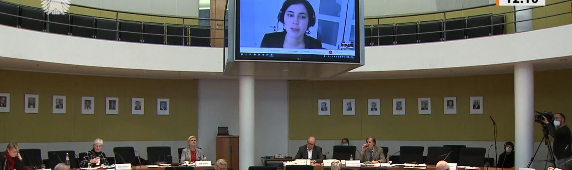 Dr. Johanna Offe bei der Anhörung im Gesundheitsausschuss. Foto: Deutscher Bundestag