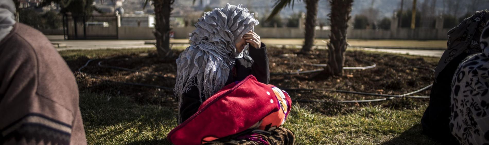 Eine geflüchtete Frau in einem Camp im Bekaa-Tal in Jordanien.Foto: Olivier Papegnies