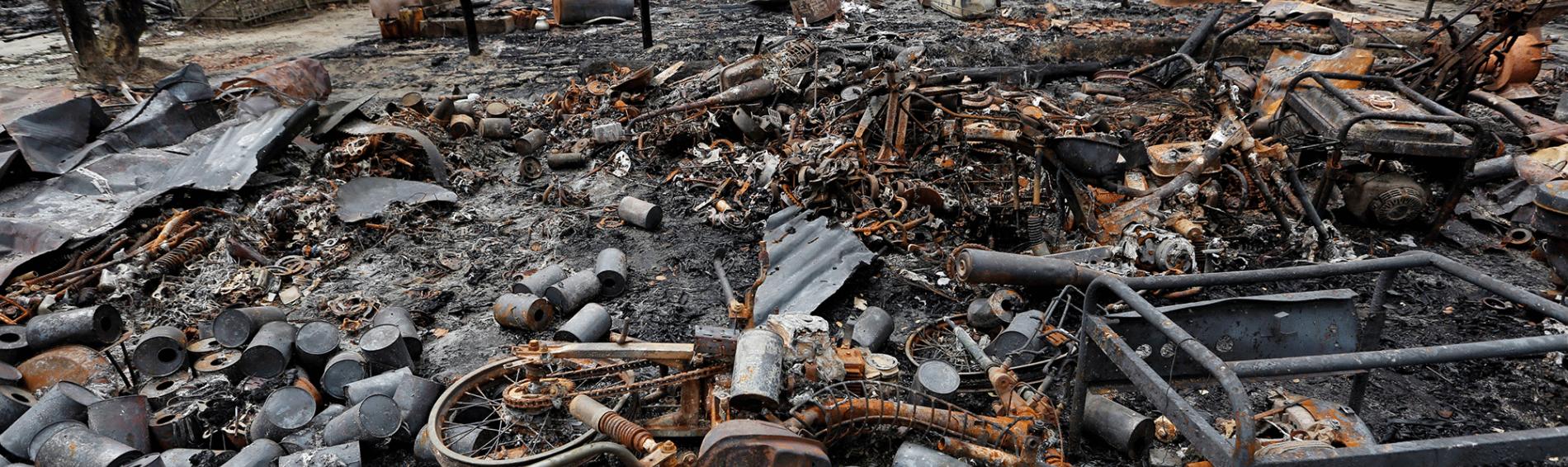 Trümmer in Myanmar