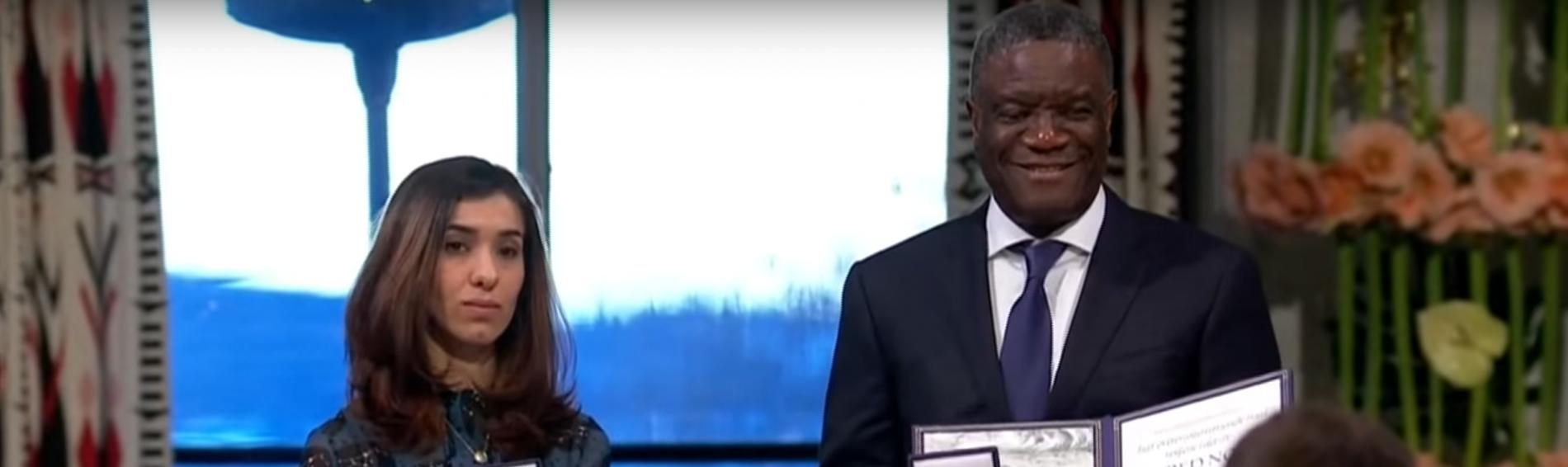 Träger des Friedensnobelpreises Nadia Murad und Denis Mukwege