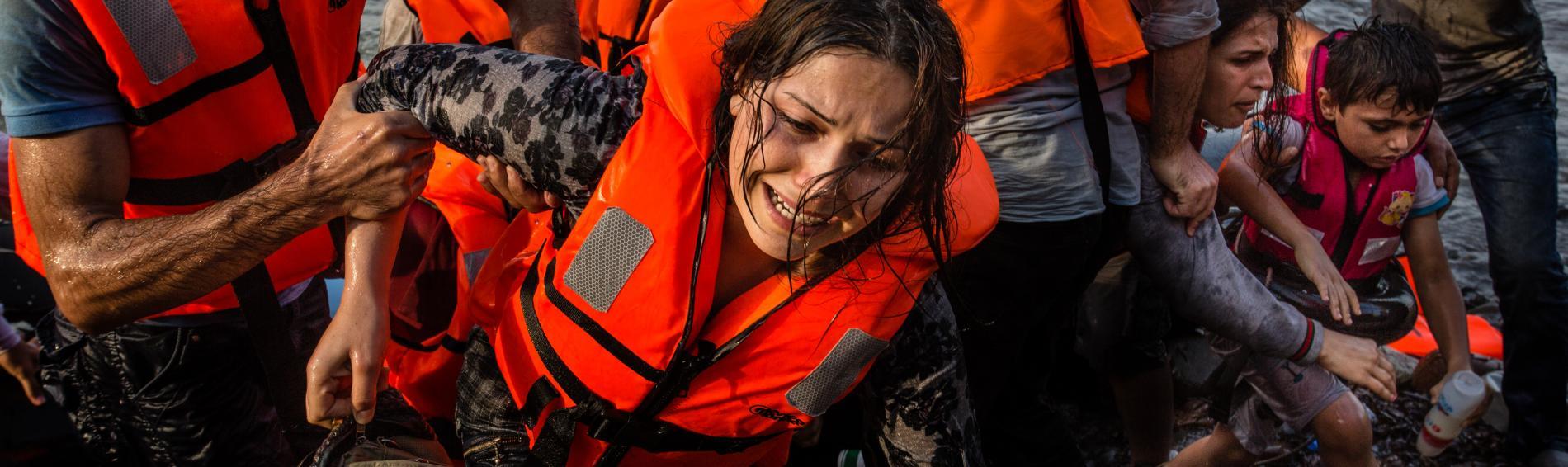 Bootsflüchtlinge kommen auf griechischen Insel Lesbos an. Foto: Kristof Vadino