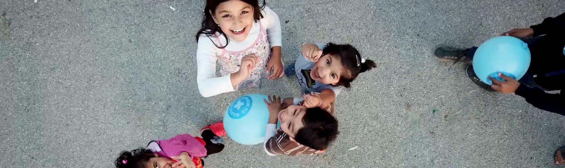 Kinder spielen in einer Unterkunft für Geflüchtete in Zagreb, Kroatien. Foto: Elisa Vandekerckhove