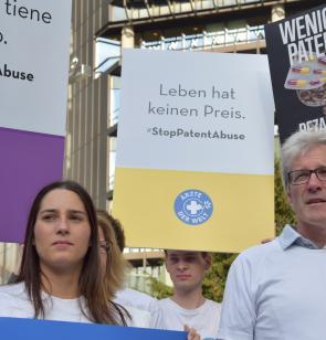 Protest vor dem Europäischen Patentamt. Foto: Lukas Lauber